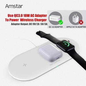 Image 3 - Беспроводное зарядное устройство Amstar 3 в 1 для Airpods Apple Watch 5 4 3 2 iWatch 10 Вт, быстрая Беспроводная зарядная площадка для iPhone 11 Pro Max XS X