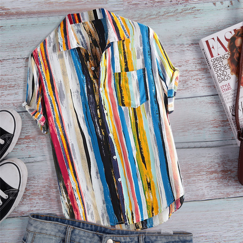Pocket <font><b>Shirt</b></font> <font><b>Men</b></font> <font><b>Summer</b></font> Short Sleeve Top 2019 Striped <font><b>Shirts</b></font> Multicolor Top <font><b>Men</b></font> Loose <font><b>Shirts</b></font> Blouse Casual Beach <font><b>shirt</b></font> image