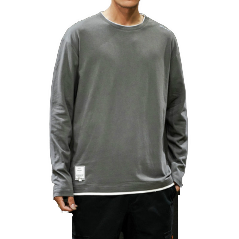2019 Mens Básico Tops T-shirt Dos Homens Da Marca T-shirts de Algodão casual Manga Comprida O Pescoço Hip hop de skate Tshirt Tops Masculinos de Grandes Dimensões camisa de t