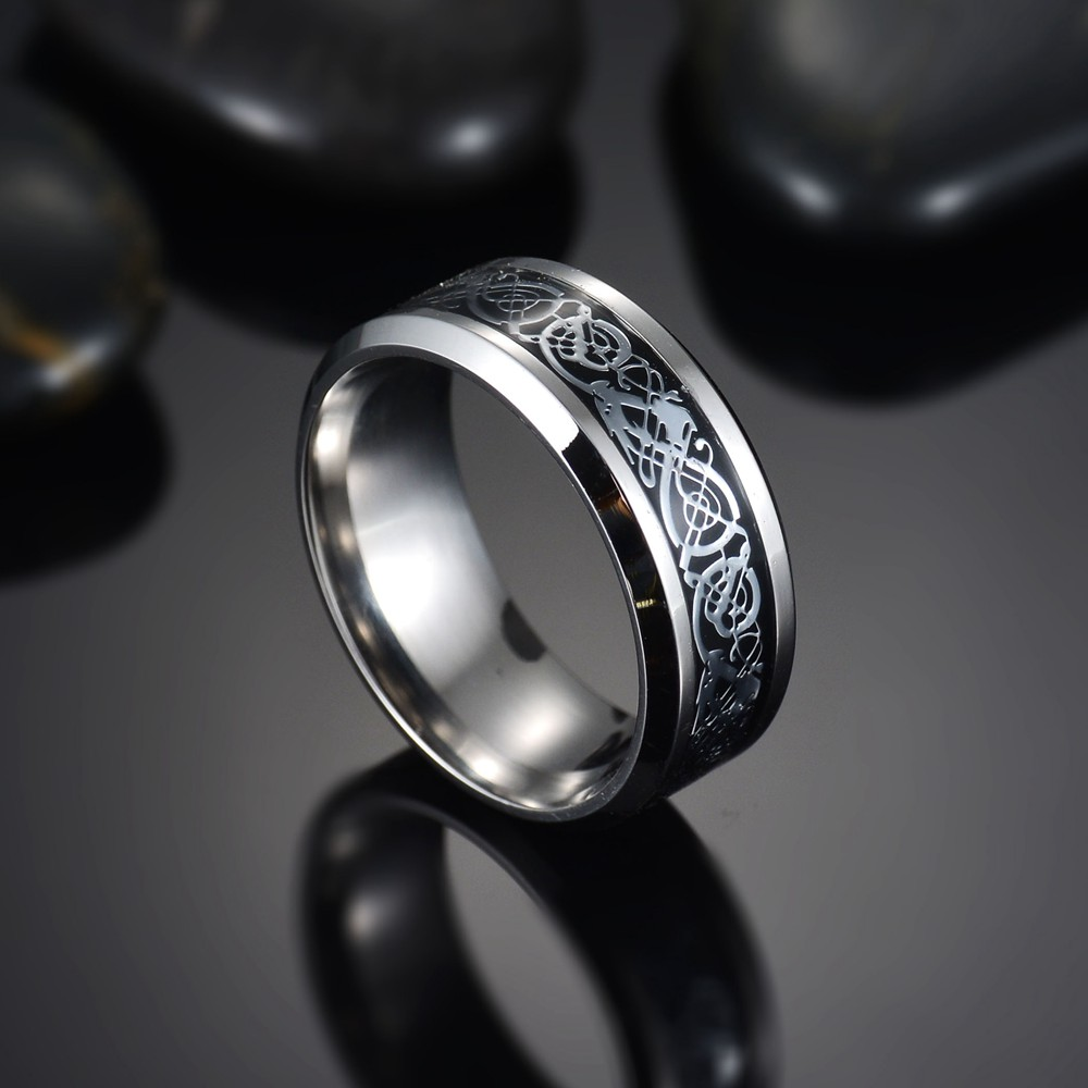 Men Ring Jewelry Black Yellow Dragon Inlay Comfort Fit Stainless Steel Rings for Men Wedding Ring Wide 8mm Anillos Para Hombre