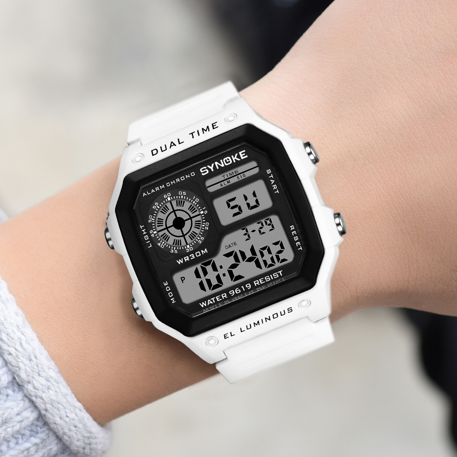 SYNOKE Men Sports Digital Watches Ultra thin LED Waterproof Chronograph Repeater Relogio Masculino Male Electronic Wrist Watches Digital Watches  - AliExpress