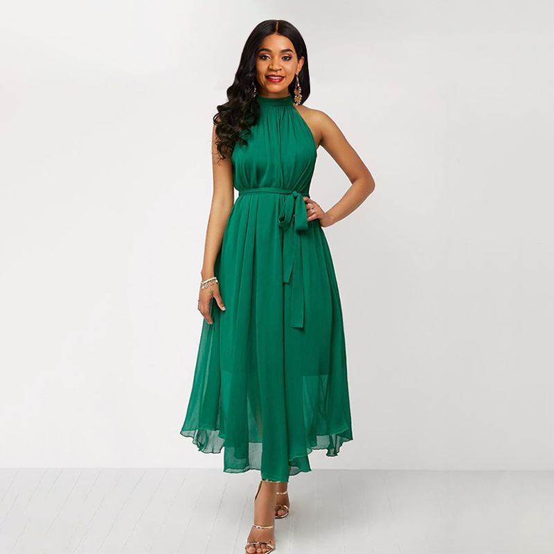 Green Dress Chiffon Summer Dress Women Halter Lace Up Sleeveless Sexy Off Shoulder Elegant Plus Size Ladies Long Maxi Dresses