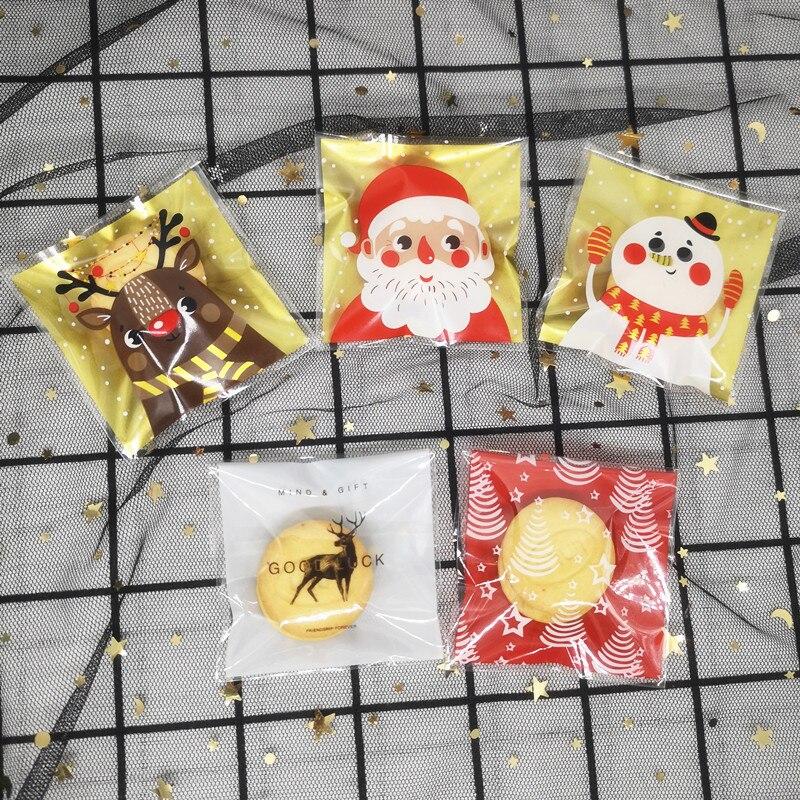 100 шт. рождественские пластиковые пакеты, сувениры для свадьбы, дня рождения, пакеты для упаковки печенья, конфет, подарков, самостоятельные ...