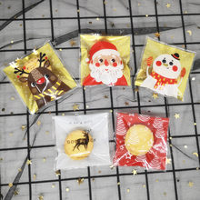 100pcs Natal de Plástico Saco de Biscoito Embalagem de Presente Dos Doces da Festa de Aniversário Favores Do Casamento Sacos de Papai Noel Autoadesivo Bolsa Sacos