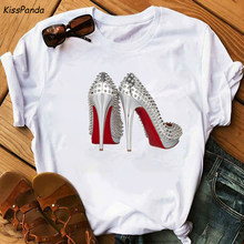 2020 Girls High Heels Summer Holidays Pleasant T Shirt Women Harajuku Aesthetic Thanksgiving vogue fashion t shirt(China)