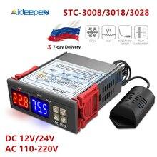 STC-3008 3018 3028 Dual Digital Temperature Controller Hygrometer C/F Thermostat Two Relay Output AC 110V 220V DC 12V 24V 10A