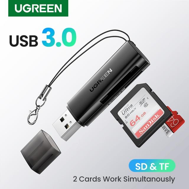 UGREEN Card Reader USB3.0 2-in-1 SD Micro SD Card Reader for Computer PC Smart Card Reader Memory Card Adapter TF SD Card Reader 1