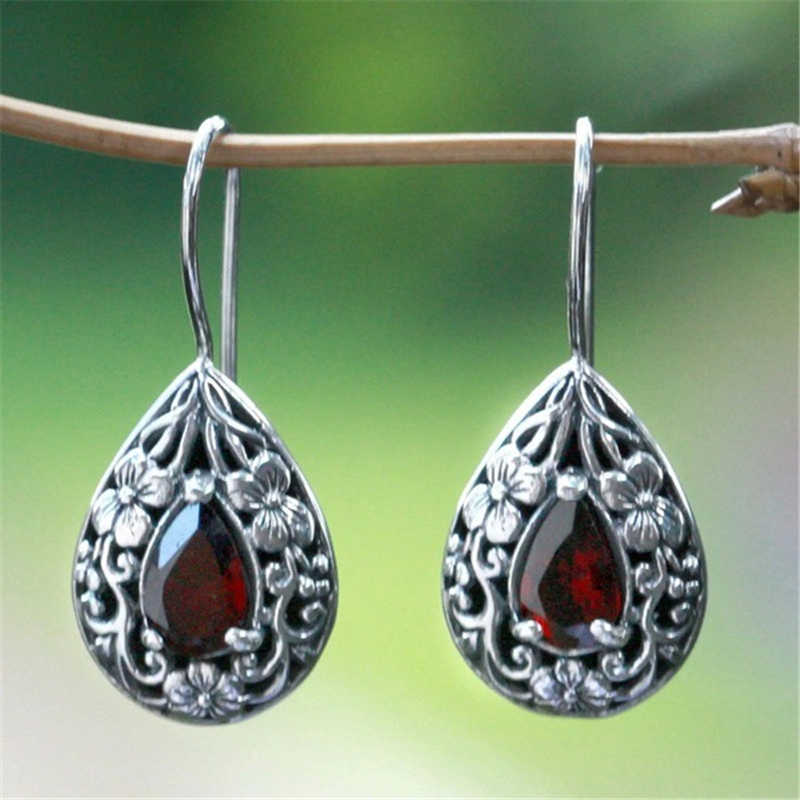 Solid S925 Sliver Ruby Diamond Earring for Women Waterdrop Pear-shaped Retro Earrings Carved Red Topaz Gemstone Garnet Earrings