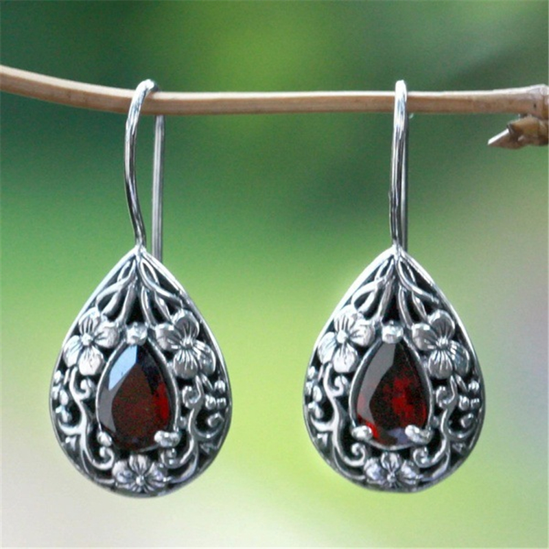 Solid S925 Silver Ruby Diamond Earring For Women Waterdrop Pear Earrings Carved Red Topaz Gemstone Garnet Earrings