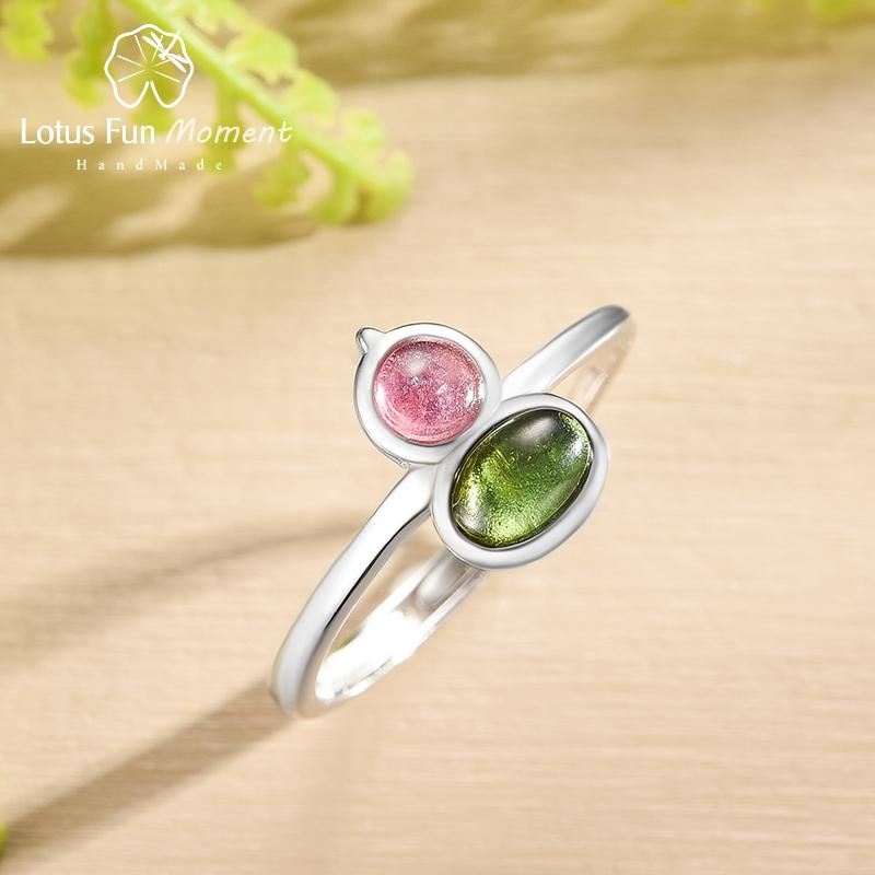 Lotus Fun Natural Tourmaline Lovely Gourd Shape Multicolor Gemstones Ring Real 925 Sterling Silver Rings for Women Fine Jewelry