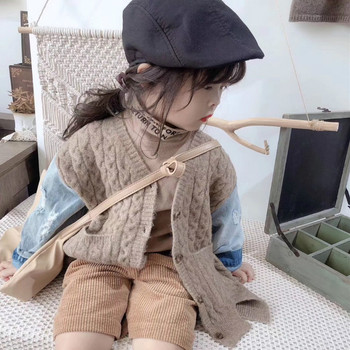 Longqibao Children's Clothing Baby Girl Sweater Cardigan 2019 Children's Boy Denim Stitching Sweater Coat Children's Clothes