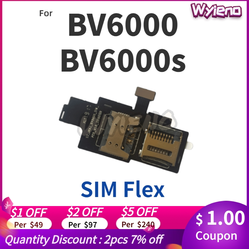 Wyieno For Blackview BV6000 BV6000S Sim Card Tray Holder Slot Reader Flex Cable Board + Tracking