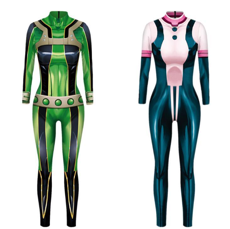 Anime My Hero Academia Asui Tsuyu Bodysuit Cosplay Costume Halloween Jumpsuit