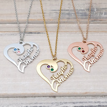 Personalized Heart Necklace Custom Birthstone Necklace Custom Names Heart Jewelry Valentines Day Gift for Her woodgrain heart pattern valentines day door stickers