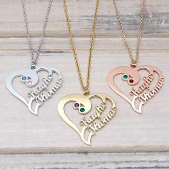 цена на Personalized Heart Necklace Custom Birthstone Necklace Custom Names Heart Jewelry Valentines Day Gift for Her