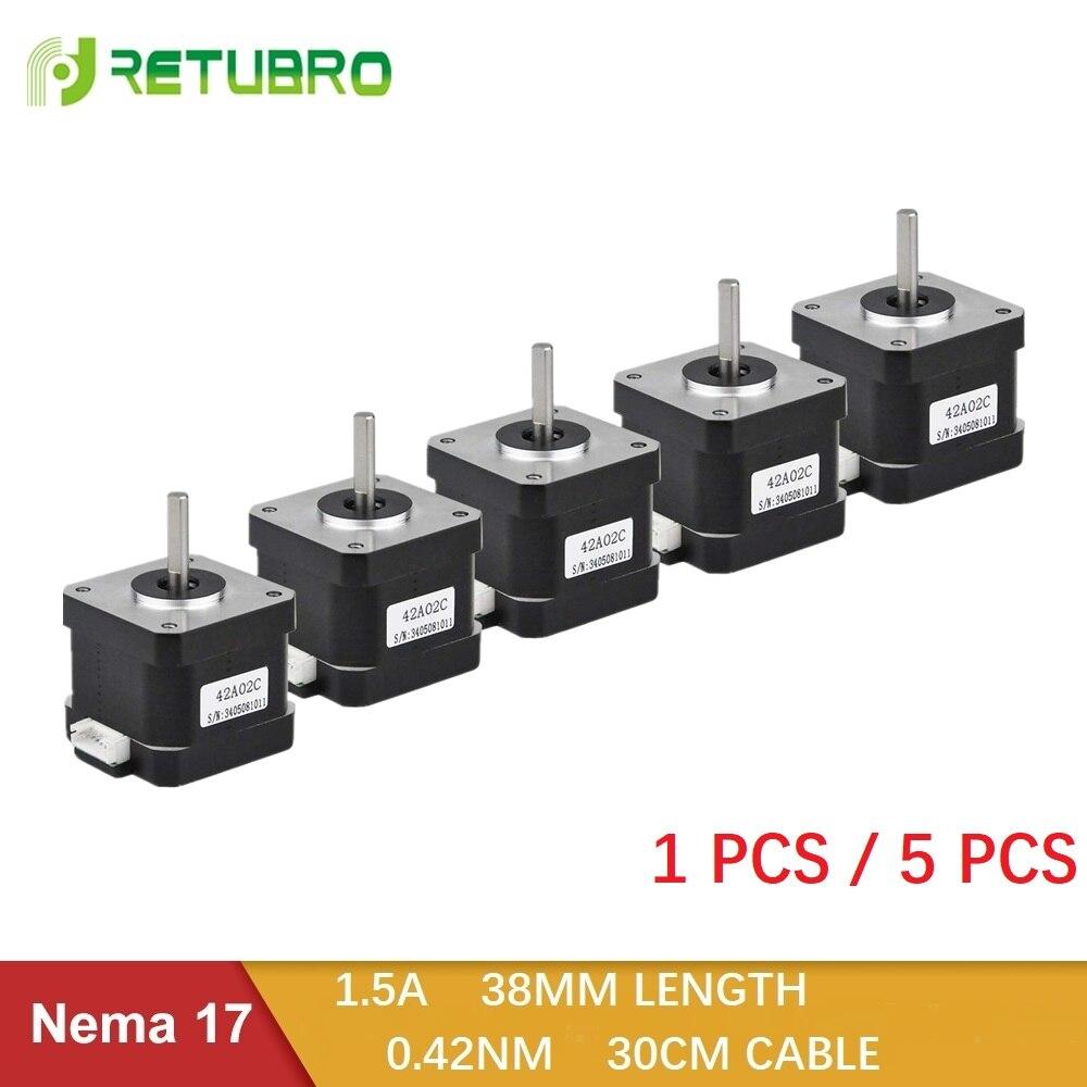 1PC/5PCS Nema 17 Stepper Motor 42 Ncm 1.5 A 38mm Length Hybrid Open Loop 2 Phase Small Motor Factory Direct Sale for 3D Printer