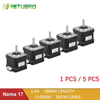 цена на 1PC/5PCS Nema 17 Stepper Motor 42 Ncm 1.5 A 38mm Length Hybrid Open Loop 2 Phase Small Motor Factory Direct Sale for 3D Printer