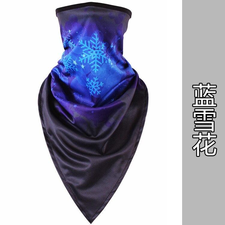 Новое ледяное шелковое треугольное полотенце крутой дышащий платок на голову воротник Мужская и женская маска от Солнца маска ошейник - Цвет: Blue snowflake