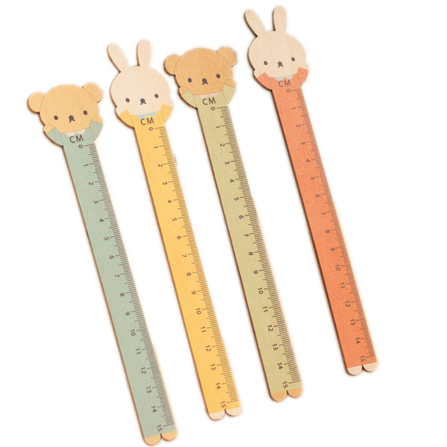15cm Cute Cartoon Animal Bear Rabbit Wooden Ruler Stationary Accessory School Supplies Straight Rulers Lineal Tool Kawaii Gift