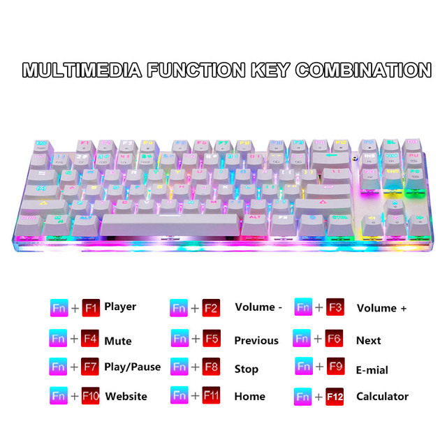 Original Motospeed K87S Gaming Mechanical Keyboard USB Wired 87 keys with RGB Backlight Red/Blue Switch for PC Computer Gamer 4