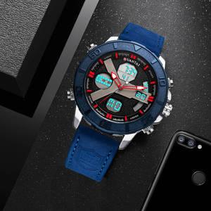 Image 5 - Relojes deportivos DUANTAI para hombre, reloj de lujo con doble huso horario, hebilla de cuero para hombres, resistente al agua, a prueba de agua, 3AM