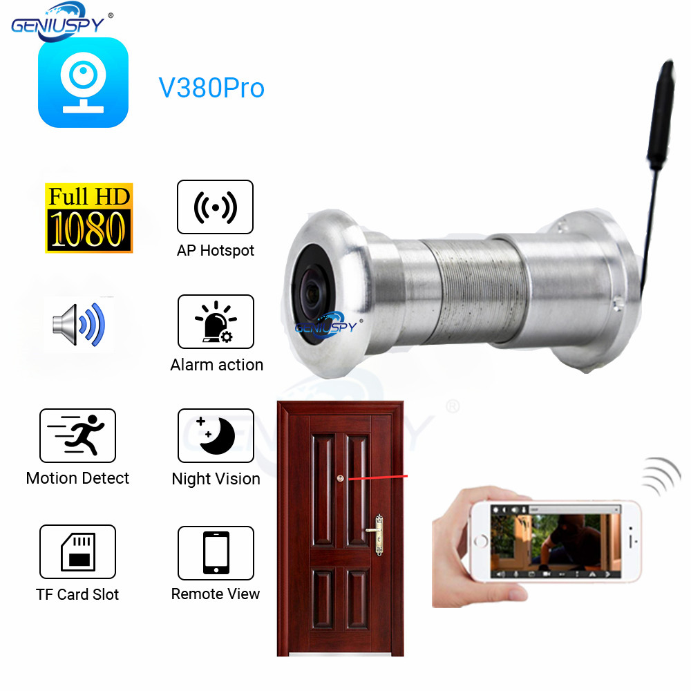 New Design P2P Audio 180Degree Wifi Wireless P2P Door Peephole Camera With Motion Detect Recording Tf Card Slot Phone Watch