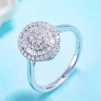 Luxury Halo Style Fine 0.4ct Diamond 18K white gold Engagement Ring 3