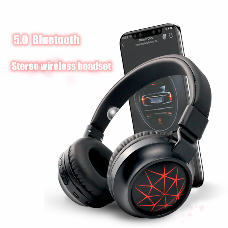 MS-K21 headphone headset card stereo with radio can be stacked with LED lights true wireless 5.0 Bluetooth foldable headphones(China)