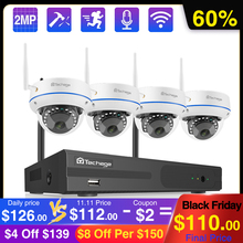 Techage 8ch 1080p nvr kit sem fio sistema de câmera segurança ip 2mp wi fi áudio som cctv dome câmera interior cctv vigilância conjunto