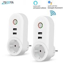 Inteligentne WiFi wtyczka zasilania gniazdo elektryczne ue z USB Smartlife App Timer bezprzewodowy pilot przez Tuya Alexa Google Home