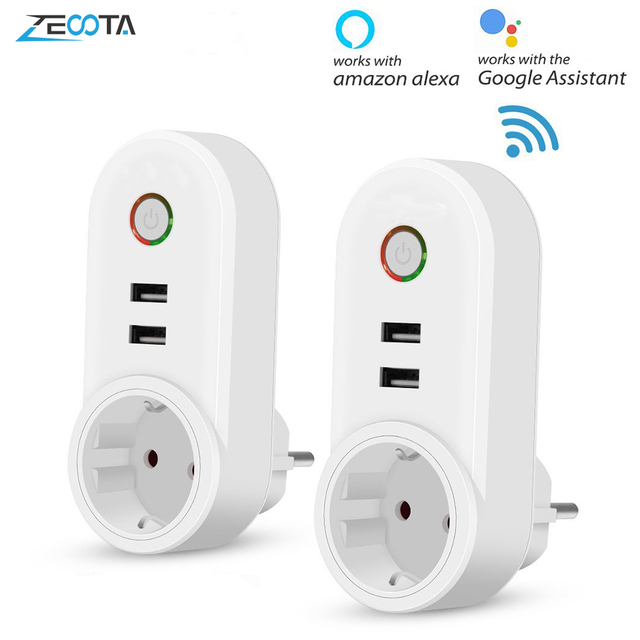 Smart WiFi Power Plug Outlet EU Electrical Socket with USB Smartlife App Timer Wireless Remote Control by Tuya Alexa Google Home