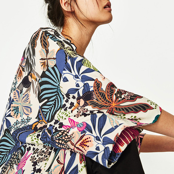 Fashion Women Chiffon Kimono Cardigan Harajuku Printed Open Front Holiday Loose Casual Thin Blouse Tops Beachwear Cover Ups 2020