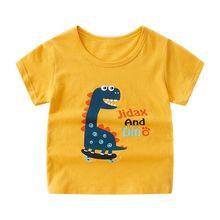 Summer Kids Boys T Shirt Dinosaur Print Short Sleeve Baby Girls T-shirts Cotton Children T-shirt O-neck Tee Tops Boy Clothes цена и фото
