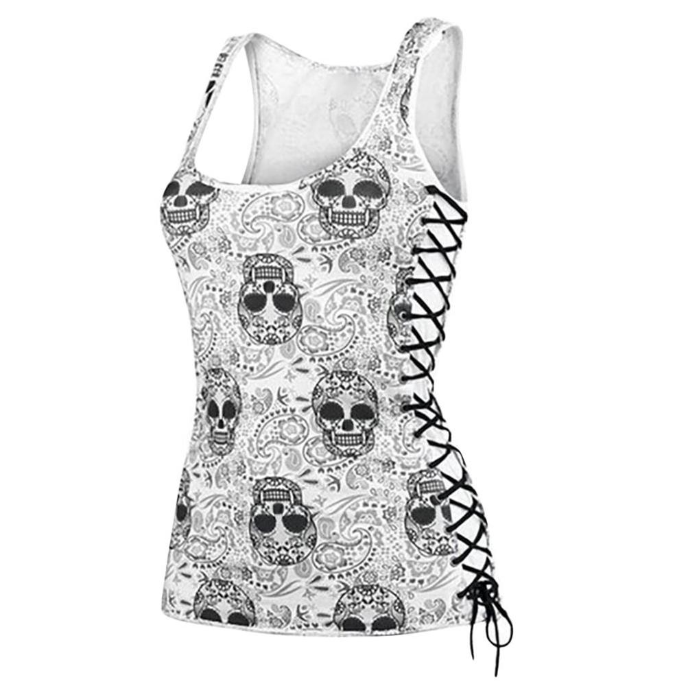 Hot Sale Skull print tank Women Summer Tee Tops Casual Round Neck Sleeveless Slim Slimming tops  O-neck Tank Camis Sexy Vest
