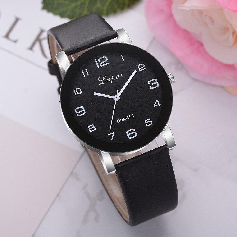 Women Quartz Watch PU Leather Band Black Dial Analog Wrist Watch Women Bracelet Watches Crystal Clock Gift zegarek damski #35 1