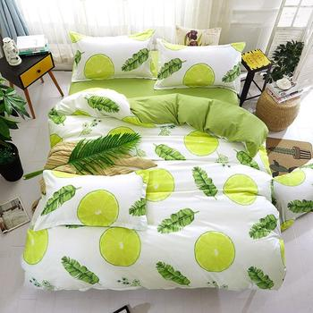 Lemon Leaf Cat 4pcs Kid Bed Cover Set Cartoon Duvet Cover Adult Child Bed Sheets And Pillowcases Comforter Bedding Set 2TJ-61003 image