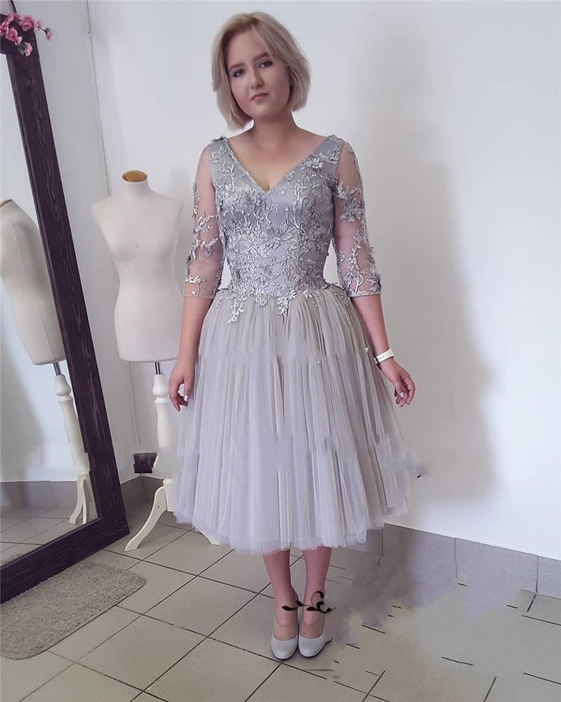 V Neck 3/4 Long Sleeve Appliques Short Women Prom Party Wedding Guest Gowns