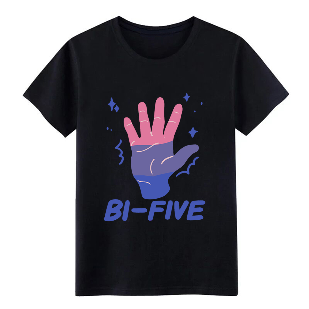 Men'S Bi Five High Five <font><b>Bisexual</b></font> Lgbt Rainbow <font><b>Pride</b></font> Tee T <font><b>Shirt</b></font> Create Short Sleeve O Neck Natural Interesting Basic <font><b>Shirt</b></font> image