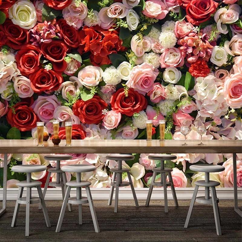 Modern 3d Rose Flowers Wallpaper Romantic Living Room Wedding House Home Decor Background Wall Painting Papel De Parede 3d Mural Wallpapers Aliexpress