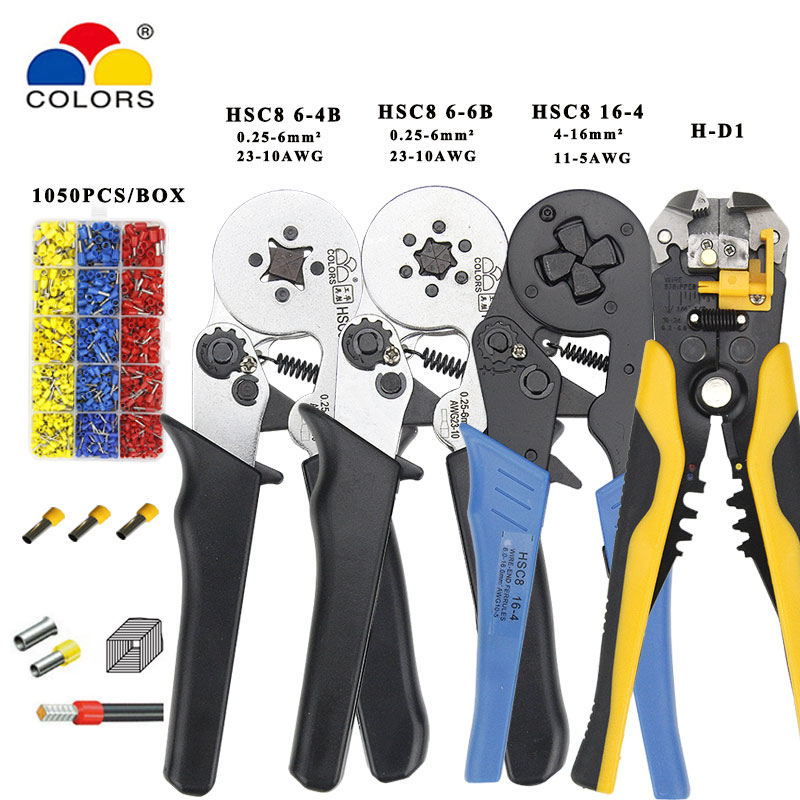 Mini Pliers Electrical Wire Crimping Tools Tubular Terminals Box Set 1050p HSC8 16-4 4-16mm2 AWG11-5 6-4B/6-6 0.25-6mm2 AWG23-10