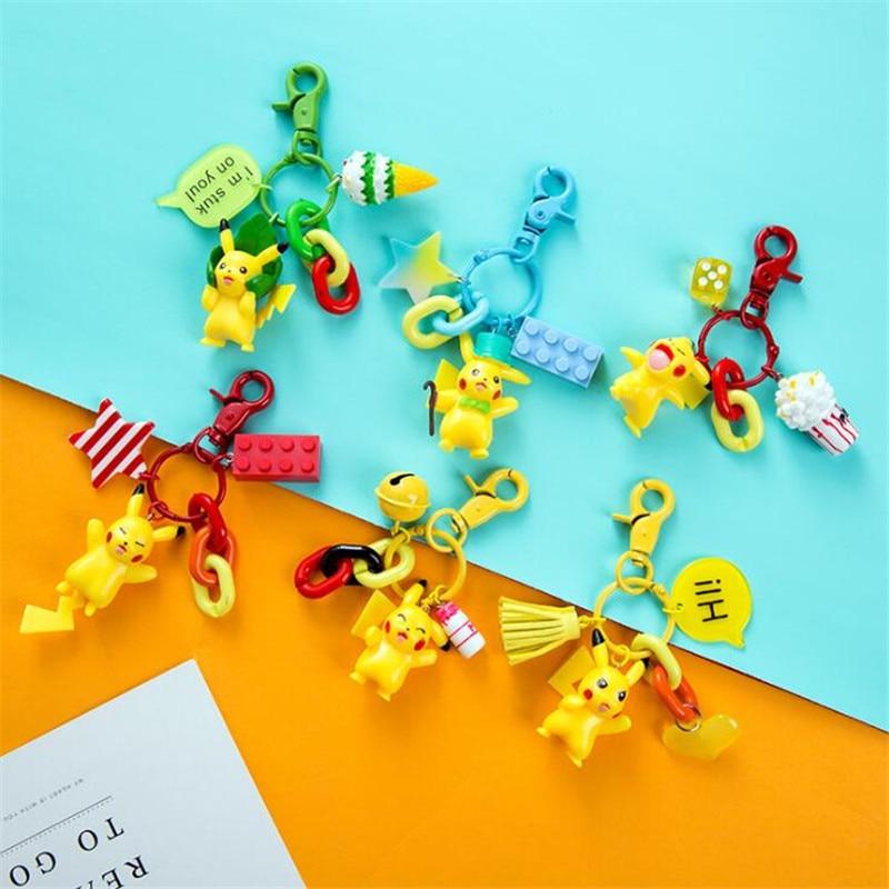 Hot New Japan Anime Pikachu Key Chain Cosplay Badge Pokemon Cartoon Cute Pendant Doll Toy Fancy Key Ring Boy Girl