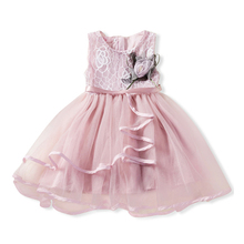 2019 Newest Flower Princess Dress Girls White Mesh Dress Sleeveless O-neck Children Clothing Kids Party for Girl Clothes cenicienta girls clothes bare shoulder o neck sleeveless princess dress for girl birthday party and wedding children clothing