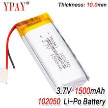 Bateria recarregável do íon do li-po li do polímero do lítio de 3.7 v 1500 mah 102050 para a pilha lipo da câmera de bluetooth da tabuleta de mp3 mp4 mp5 gps dvd