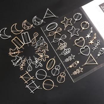 Fashion Metal Love Heart Hair Clip Elegant Star Round Barrette for Women Girls Sweet Hairpins Barrettes Hair Accessories 2