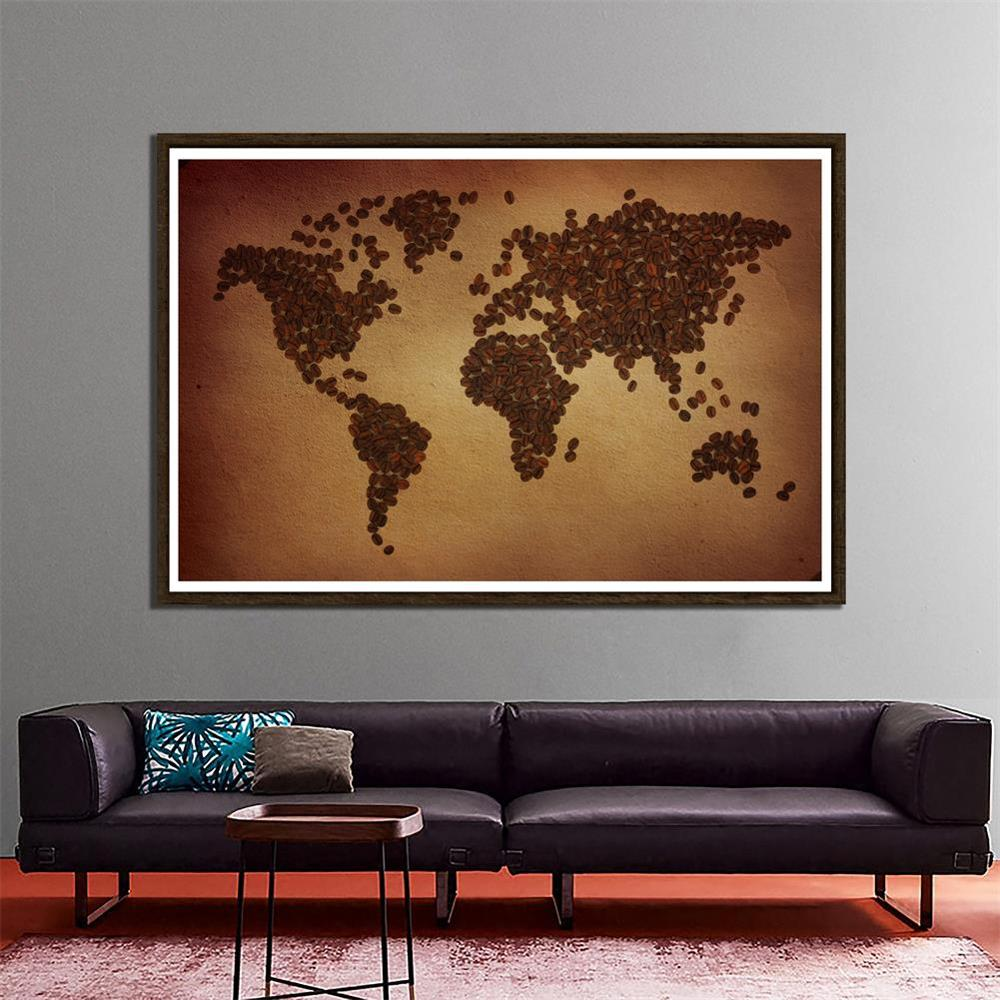150x225cm Non-woven DIY World Map Plate Pattern Made Of Coffee Beans Home Wall Decor Map