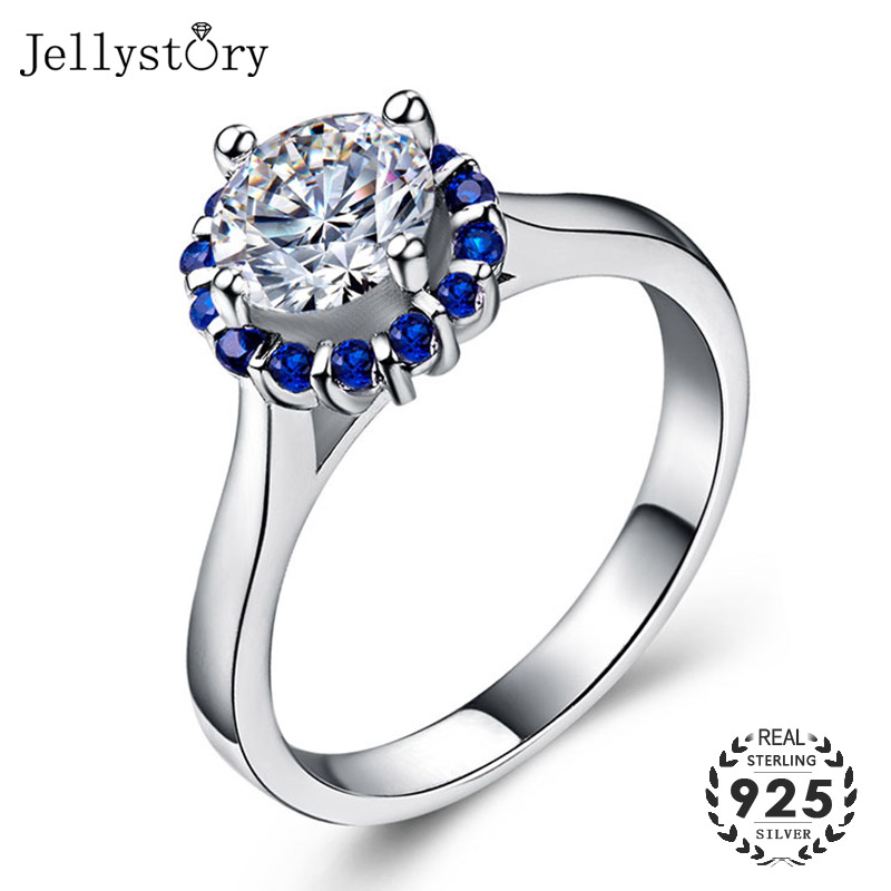 Jellystory Trendy 925 Silver Jewelry Ring With Round 7mm Zircon Sapphire Gemstones For Women Wedding Party Gifts Wholesales Ring