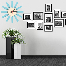 Hot Sales High Quality 3d Blue Block Clock Sweep Second House Decoration Television Background Mute Wall Wood