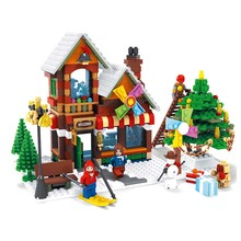 25611 812pcs Winter Village Post Office City Advent Calendar Christmas Santa Workshop Building Block Toys For Children