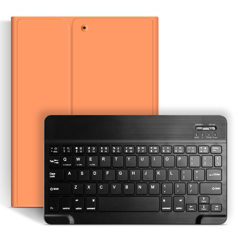 Orange and Black Silver Bluetooth Keyboard Case For Apple iPad 10 2 2019 7th Generation PU Leather Cover for iPad