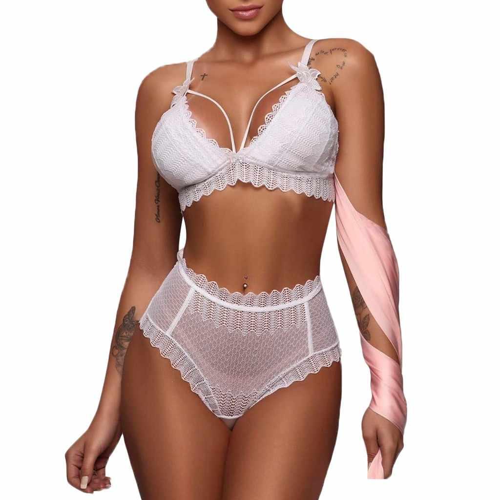 Sexy Vrouwen Lingerie Sets Lace Strik Bh Bandage Set Bodysuit Nachtkleding Ondergoed Tops Witte Lingerie Set Bras Slips Mode